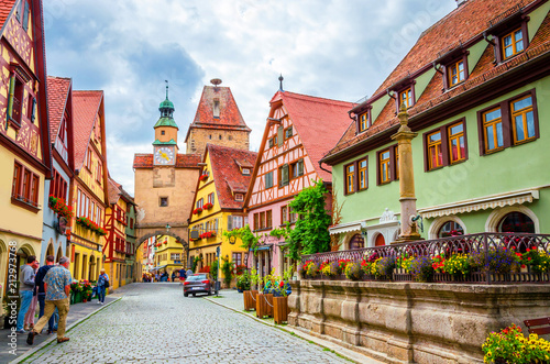 Obraz na plátně  Beautiful streets in Rothenburg ob der Tauber with traditional German houses, Ba