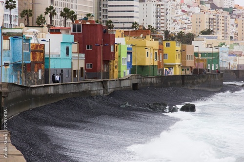 Colorful houses in San Cristobal fishing town near Las Palmas, Gran Canaria. Urban area by the sea in Canary Islands, Spain