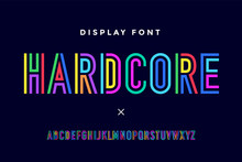 Line Condensed Alphabet And Font. Colorful Uppercase Outline Letters. Type, Typography Letter Line Font In Coloured Rainbow Style. Hand-drawn Modern Narrow Sans Serif Line Font For Headline. Vector
