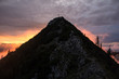 Glowing alpine mountain in the sunset at the Tegernseer Hütte in Bavaria, Germany