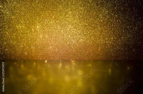 Obraz na plátně  Fondo textura dorado brillante y madera