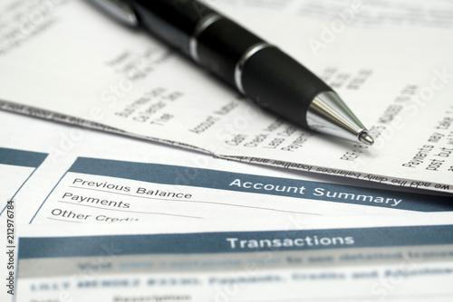 Fotografia, Obraz  Close Up Of Pen And Bank Statements