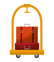 Hotel Luggage Trolley And Suitcases Old Fashion