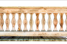 Fragment Of Wooden Railing, Isolated Against White Background