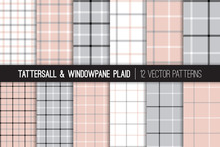 Pink, Gray, Black And White Tattersall & Windowpane Plaid Vector Patterns. Trendy Fashion Textile Print. Pastel Color Backgrounds. Small To Large Scale Check Textile Prints. Pattern Tile Swatches Incl