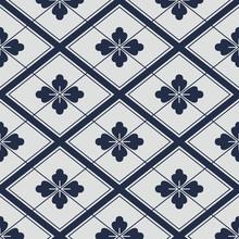 Japanese Navy White Flowers Geometric Pattern