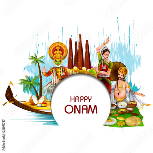 Fotografie, Obraz  Happy Onam  holiday for South India festival background