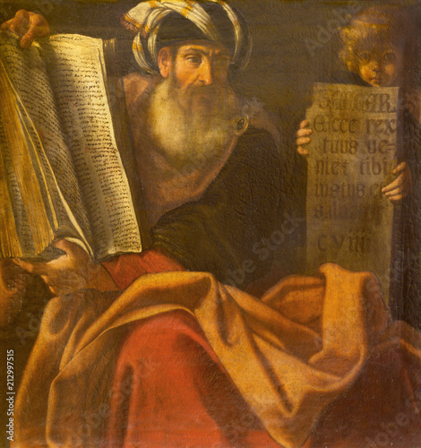 Fototapeta BOLOGNA, ITALY - APRIL 18, 2018: The painting of prophet Zechariah in church Chiesa di San Benedetto by Giacomo Gavedoni (1577 - 1660)