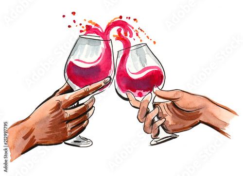 Obraz na płótnie Hands toasting with a glasses of red wine
