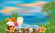 Summer tropical wallpaper with cocktail , vector illustration