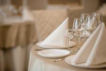Elegant Serving Of A Festive Dinner In The Restaurant Table