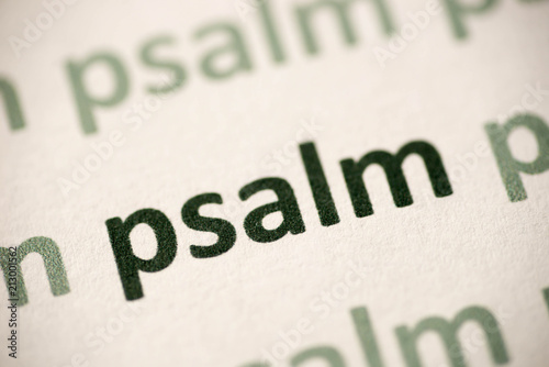Vászonkép word  psalm  printed on paper macro