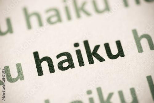 Fényképezés word haiku  printed on paper macro