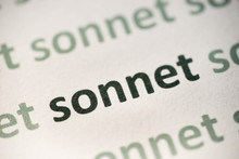 Word Sonnet  Printed On Paper Macro