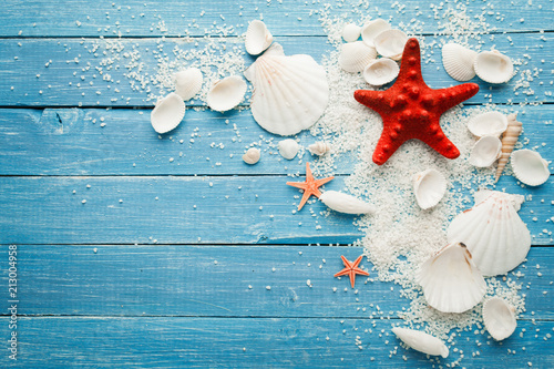 Fotografie, Obraz  Summer sea background - shells and star