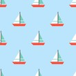 Sailboat seamless pattern for use as wrapping paper gift or wallpaper and printing, summer theme