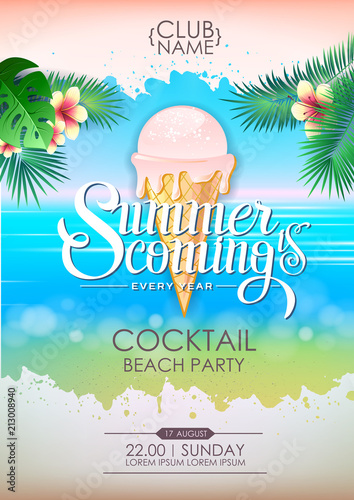 Summer disco poster cocktail beach party. Lettering poster summer is coming © annbozhko