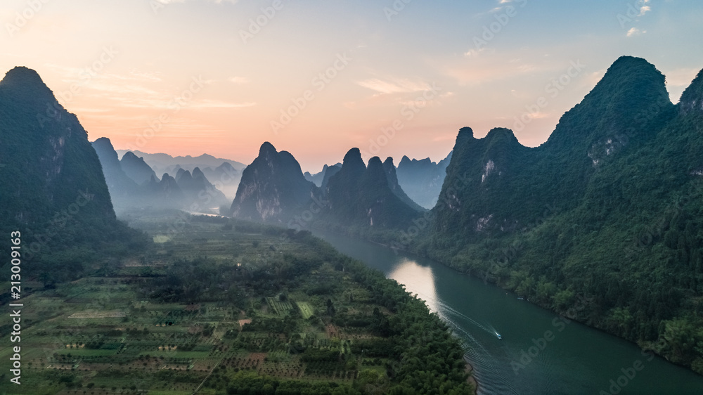Fototapety, obrazy: aerial view of mountains in the dawn