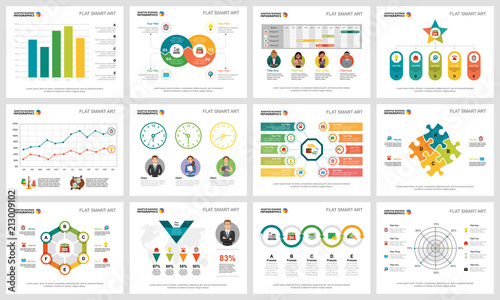 Colorful analytics or consulting concept infographic charts