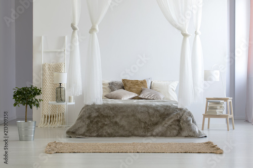 Foto auf AluDibond Boho-Stil Plant next to brown canopied bed in minimal bedroom interior with carpet and lamp. Real photo