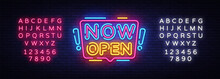 Now Open Neon Signs Vector. No...