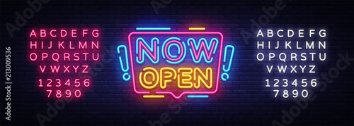 Fotografie, Obraz  Now Open neon signs vector