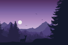 Mountain Landscape With Forest, Deer And Doe, Under Evening Sky With Moon Or Sun And Flying Birds