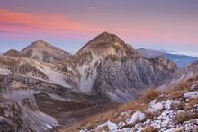 Gran Sasso And Monti Della Laga National Park At Sunrise, Campo Imperatore, Abruzzo, Italy, Europe