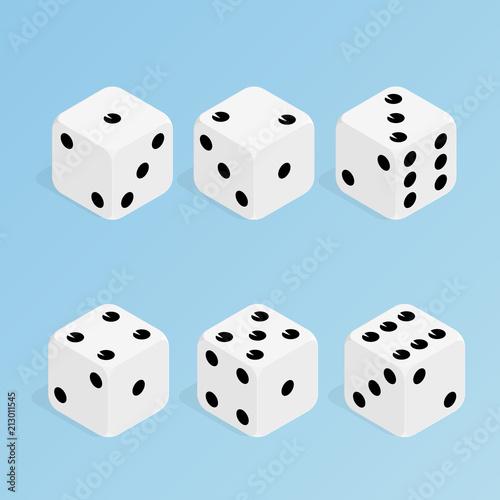 фотография  isometric dice set vector