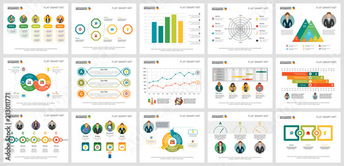 Fotografie, Obraz  Colorful diagrams set for presentation slide templates