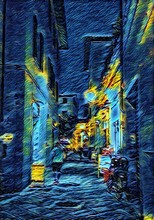View At Vintage Night Italian Street. Old Architecture Of Italy. Big Size Oil Painting Fine Art In Vincent Van Gogh Style. Modern Impressionism Drawn. Creative Artistic Print For Poster Or Postcard.