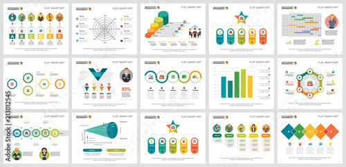 Colorful management or teamwork concept infographic charts set Canvas Print