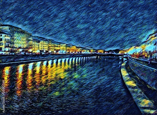 View at river Arno in Pisa, Italy. Old houses at embankment. Italian canal. Big size oil painting fine art in Vincent Van Gogh style. Modern impressionism drawn. Creative artistic print or poster.
