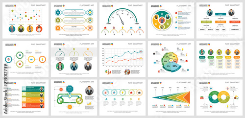 Colorful marketing or finance concept infographic charts set Canvas Print