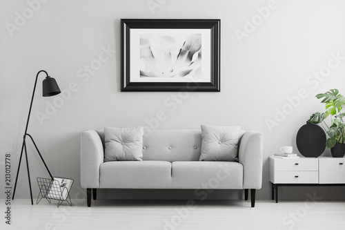 Marvelous Framed Photo On A Wall Above A Fancy Gray Sofa With Inzonedesignstudio Interior Chair Design Inzonedesignstudiocom