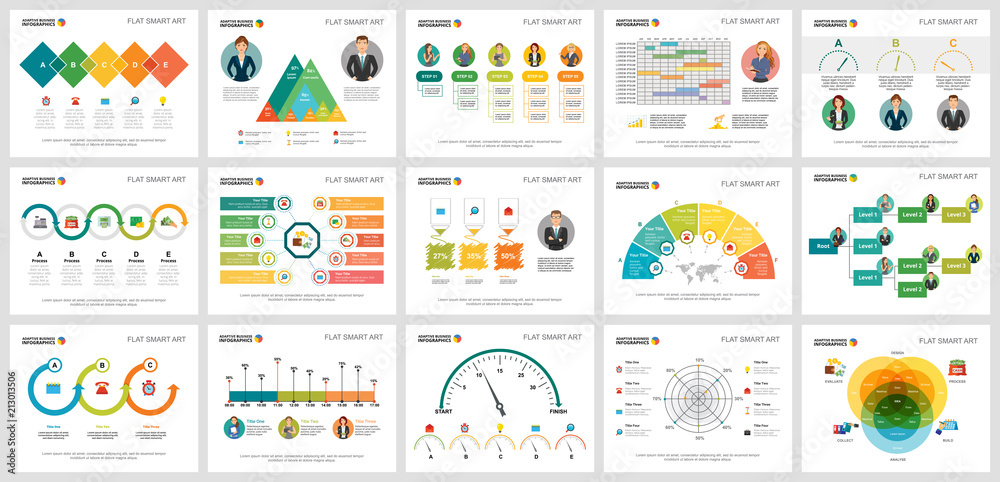 Fototapety, obrazy: Colorful statistics or economy concept infographic charts set. Business design elements for presentation slide templates. For corporate report, advertising, leaflet layout and poster design.