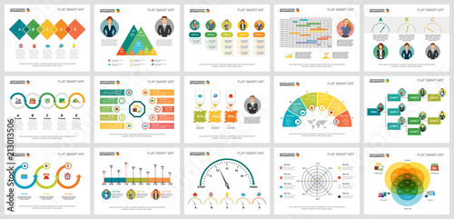 Photo  Colorful statistics or economy concept infographic charts set
