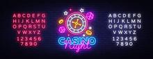 Casino Night Neon Logo Vector....