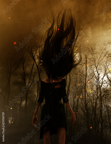 3d illustration of Ghost woman in the woods,Scary background mixed media Poster Mural XXL
