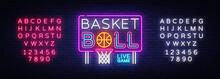 Basketball Neon Sign Vector. B...