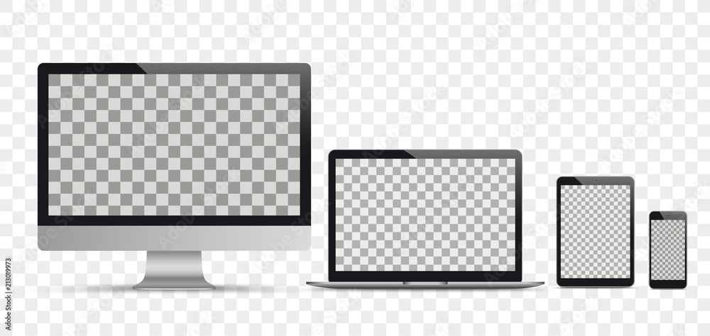 Fototapeta Vector Set Black Monitor Notebook Tablet Smartphone Transparent