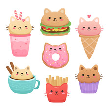 Illustrations Of Food In The Shape Of A Cute Cat. Milkshake, Ice Cream, Donut, Hamburger, Muffin, Cappuccino, French Fries. Kawaii Vector Set Isolated On White