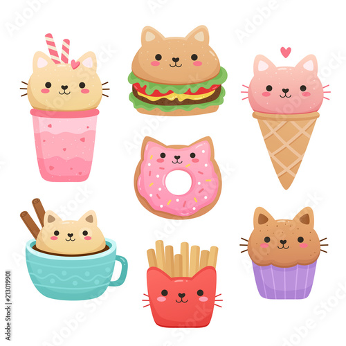 Photo  Illustrations of food in the shape of a cute cat
