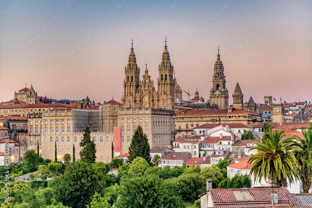 Fototapety, obrazy: Hazy sunset on monumental Santiago de Compostela cathedral.