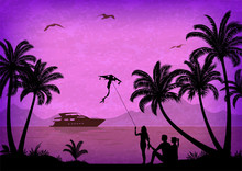 Exotic Landscape, People With ...