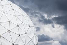 Radar Dome / Radome And Dark Cloudy Sky