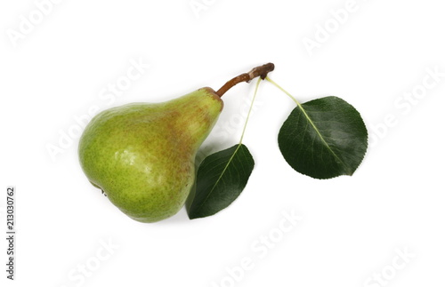 Fresh ripe pear with twig and leaf isolated on white background, top view