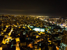 Istanbul, Turkey - February 23, 2018:Aerial Night View Of Istanbul Kartal E5 (D100) Highway