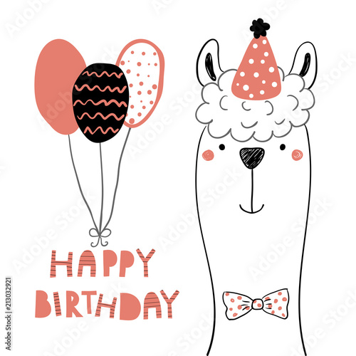 Printed kitchen splashbacks Illustrations Hand drawn birthday card with cute funny llama in a party hat, balloons, lettering quote Happy birthday. Isolated objects. Line drawing. Vector illustration. Design concept for children print.