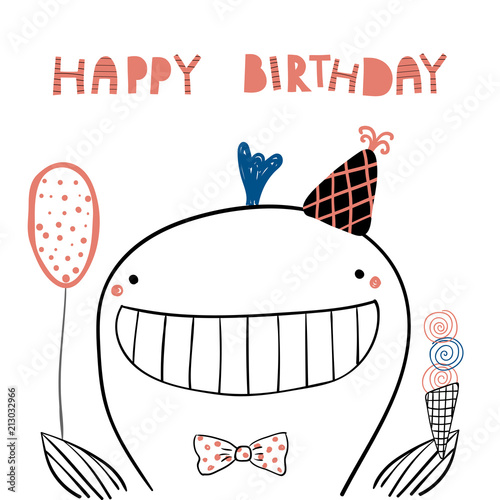 Printed kitchen splashbacks Illustrations Hand drawn birthday card with cute funny whale in a party hat, balloon, ice cream, lettering quote Happy birthday. Isolated objects. Line drawing. Vector illustration. Design concept for kids print.